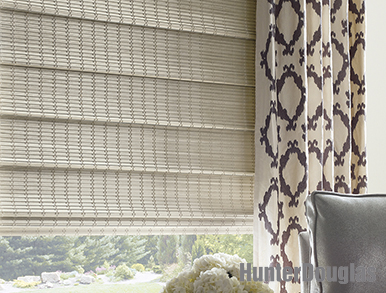 Hunter Douglas tiered 4 inch classic fold roman shades