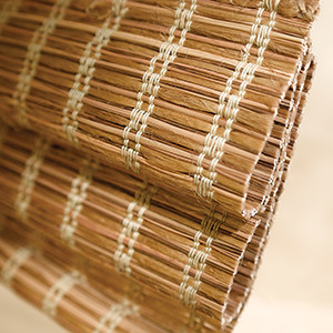 woven wood shade close up